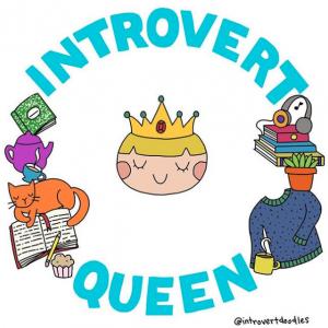 introvert queen, marzi introvert doodles
