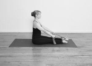 Dandasana stretchy band rows elbows straight